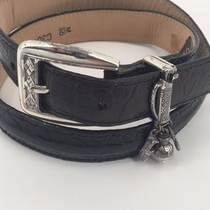 Brighton Vintage Black Leather Golf Charm Belt
